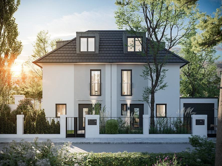 Idyllisch und modern. Zwei Doppelhaushälften und ein Einfamilienhaus.